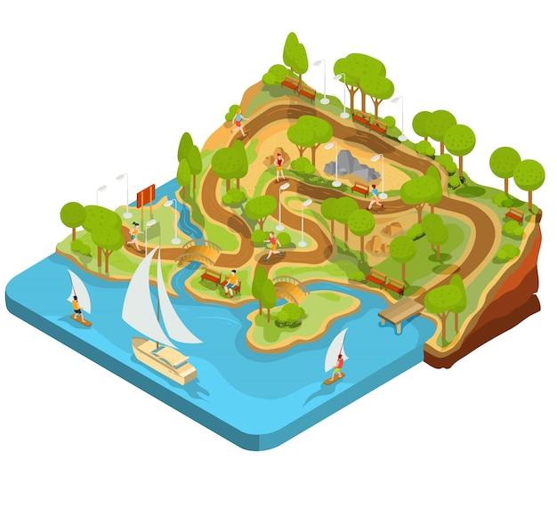 Векторная 3d-изометрическая иллюстрация поперечного сечения ландшафтного парка с рекой, мостами, скамейками и фонарями.