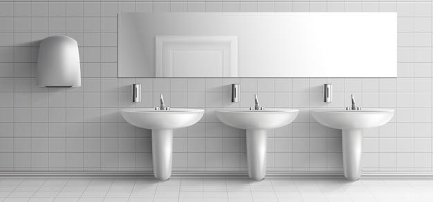 Общественный туалет минималистичный интерьер 3d реалистичные вектор макет. ряд керамических раковин с металлическим краном, дозаторами мыла, сушилкой для рук и длинным зеркалом на белой плиточной стене