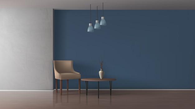 Квартира гостиная, просторная столовая, ресторан, гостиница или офисный зал, лаундж 3d реалистичный векторный макет с удобным креслом, элегантная ваза на журнальном столике в вместительной иллюстрации интерьера