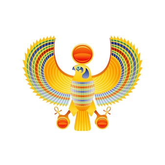 Египетский сокол символ бога гора и ра. сокол птица с золотым крылом из древнего египта искусства. мультфильм 3d реалистичная статуя значок.