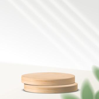 幾何学的形態を持つ抽象的な最小限のシーン。葉と白い背景でシリンダー木製表彰台。製品のプレゼンテーション、モックアップ、化粧品の展示、表彰台、ステージ台座またはプラットフォーム。 3d