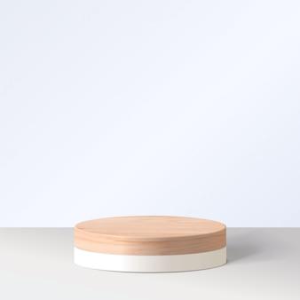 幾何学的形態を持つ抽象的な最小限のシーン。白い背景で白いシリンダー表彰台。製品のプレゼンテーション、モックアップ、化粧品の展示、表彰台、ステージ台座またはプラットフォーム。 3d