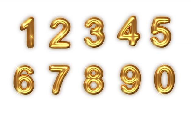 Золотые номера установлены. реалистичные 3d иллюстрации. золотые цифры шрифта
