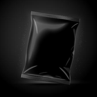 Вектор 3d реалистичные роскошные темные чипсы пакет