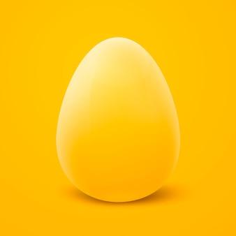 Реалистическое яркое желтое пасхальное яйцо 3d, изолированное на желтом цвете.
