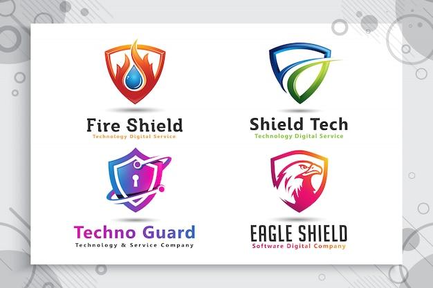 Установите коллекцию 3d щит технологий логотипа с современной концепцией.