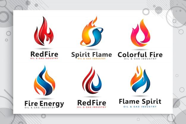 石油およびガス会社のシンボルとして、モダンなコンセプトの3dロゴのコレクションを設定します。