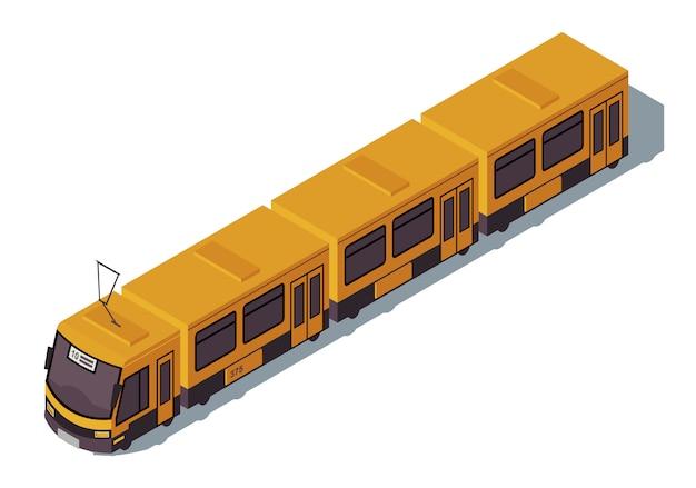 Трамвай изометрии цветная иллюстрация. городской общественный транспорт инфографики. экологический городской транспорт. концепция пригородного электропоезда 3d на белом фоне