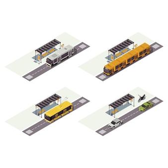 Городской транспорт изометрии цветная иллюстрация. общественный городской транспорт инфографики. автобусная остановка. трамвай, троллейбус, автомобили и мотоцикл. авто 3d концепция, изолированные на белом фоне