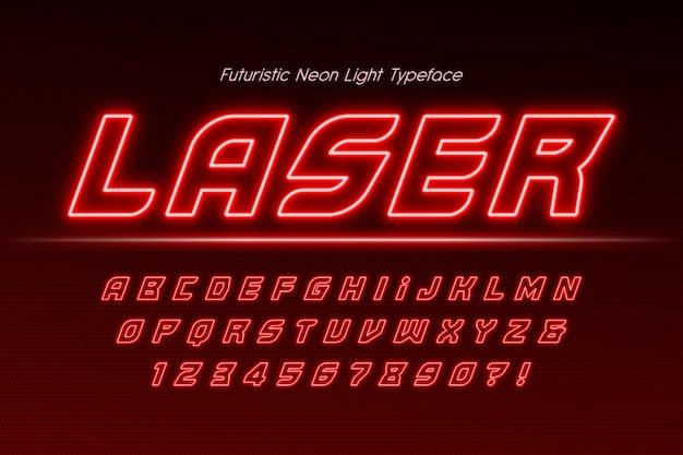 Неоновый свет 3d алфавит, дополнительный светящийся современный тип.