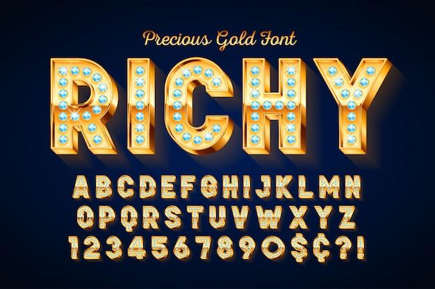 Золотой 3d шрифт с драгоценными камнями, золотыми буквами и цифрами.