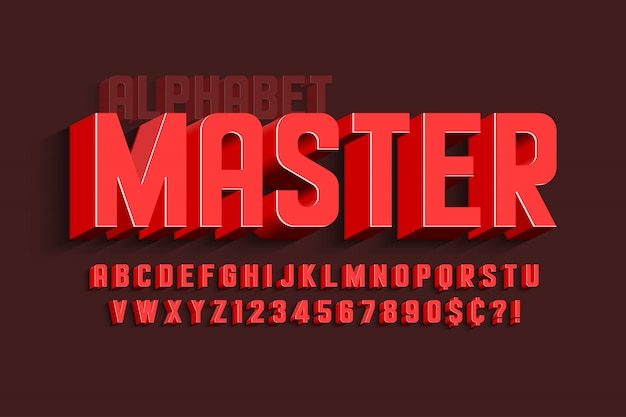 Сжатый 3d дисплей дизайн шрифта, алфавит, буквы и цифры.