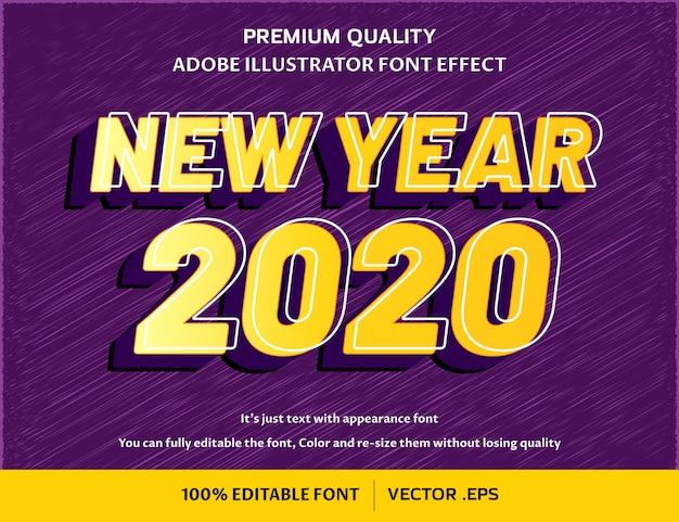 Современный новый год 3d - легко редактируемый эффект шрифта