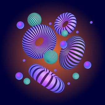 Абстрактная композиция с 3d примитивных геометрических фигур. современный дизайн плаката