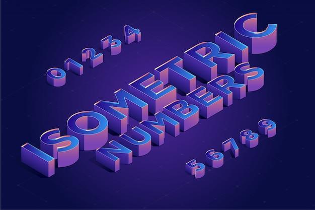 Изометрическая 3d номер набор шрифтов. векторная иллюстрация