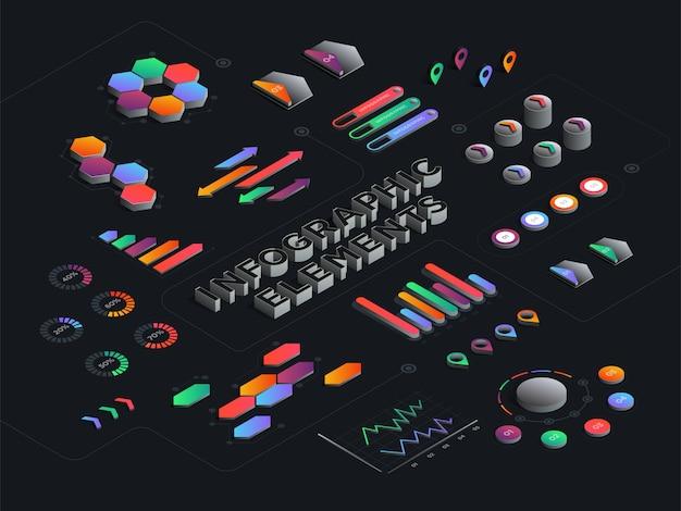 Абстрактный изометрические инфографика шаблон. 3d бизнес, финансовые, маркетинговые данные графики и диаграммы набор графиков. векторная иллюстрация