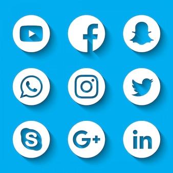 3d социальные медиа логотипы