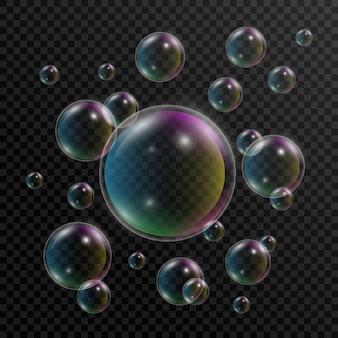Реалистичные мыльные пузыри. набор мыльных пузырей с отражением радуги на прозрачной. 3d пузырь.