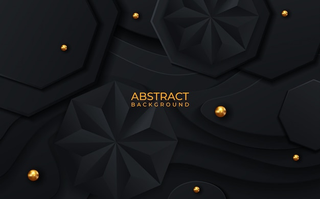 Абстрактный геометрический фон. векторные 3d иллюстрации шестигранные и пирамидальные черные фигуры.