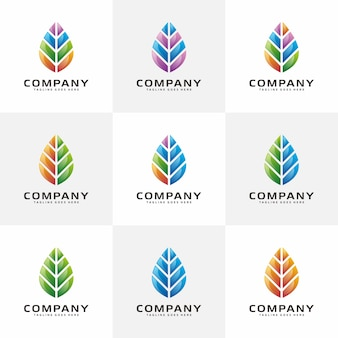 3dカラフルな葉のロゴ