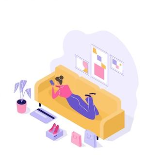 Молодая женщина, покупая вещи онлайн 3d изометрические иллюстрации на белом