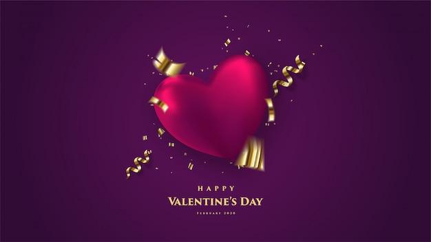 День святого валентина фон с 3d любовь воздушный шар иллюстрации с золотыми листами фолио на темном фоне.