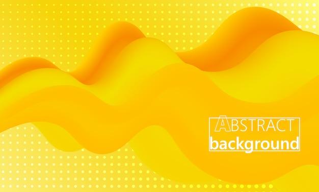 黄。ランディングページ。 3d流体ポスター。 。