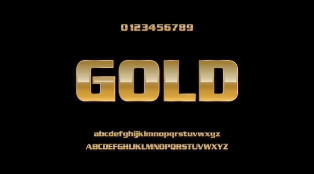 Элегантный золотой металлический прочный жирный 3d современный стиль текста эффект алфавит набор шрифтов