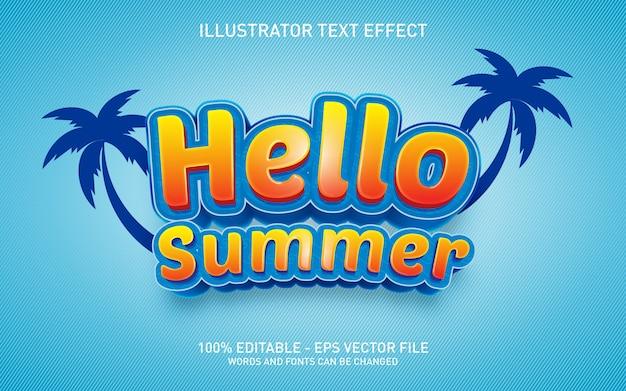Редактируемый текстовый эффект, привет лето, иллюстрация в стиле 3d
