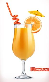カクテルオレンジ。フルーツジュース。 3d