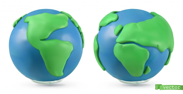 Планета земля. 3d объекты. иллюстрация из пластилина ручной работы