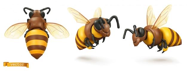 Пчела, шмель. 3d мультфильм значок набор. пластилиновая иллюстрация