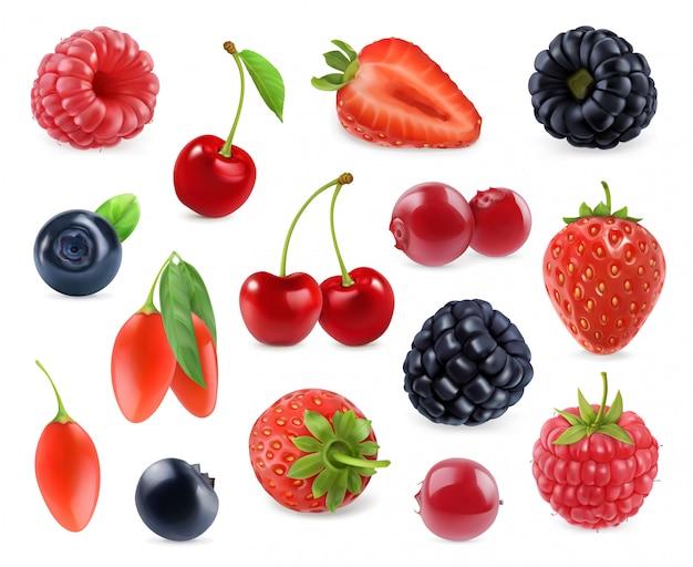 Лесная ягода. сладкий фрукт. установленные значки 3d. реалистичная иллюстрация
