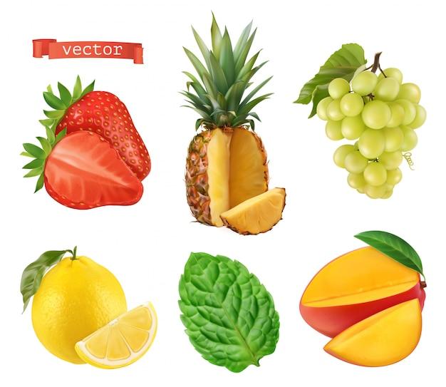Свежие фрукты. клубника, ананас, виноград, лимон, мята и манго. установленные значки 3d. реалистичная иллюстрация