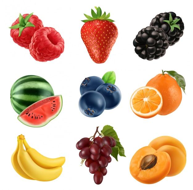 Свежие фрукты. установленные значки 3d. реалистичная иллюстрация