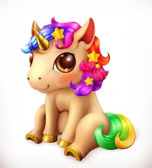 Маленький единорог мультипликационный персонаж. веселые животные 3d значок