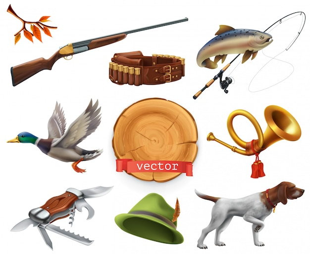 ハンティングセット。散弾銃、犬、アヒル、釣り、ホーン、帽子、ナイフ。 3dアイコン
