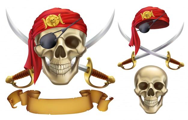 頭蓋骨とサーベル。海賊のエンブレム。 3dセット