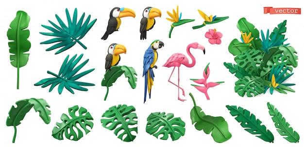 熱帯植物や花、エキゾチックな鳥。オオハシ、オウム、フラミンゴ。ジャングルの粘土アートアイコンを設定。 3d