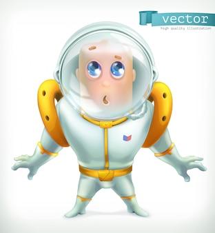 Астронавт в скафандре. забавный значок персонажа 3d