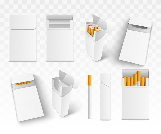 Установите 3d реалистичные сигареты в пачке, на прозрачном фоне. изолированные.
