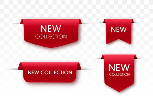 Новые коллекции продажа теги. 3d этикетки и значки. красные ленты свитка. векторные баннеры