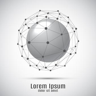 Сфера с соединительными линиями и точками. геометрическая предпосылка 3d для представления дела или науки.