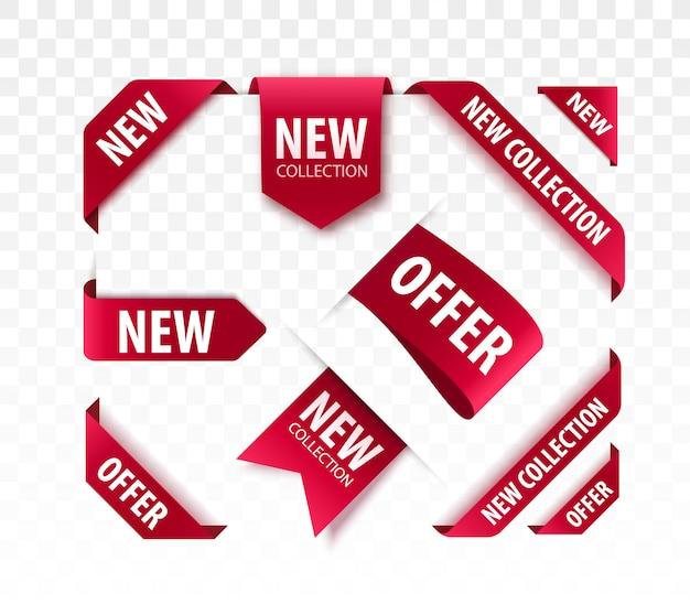 Новые коллекции продажа теги. 3d этикетки и значки. красные ленты свитка. баннеры