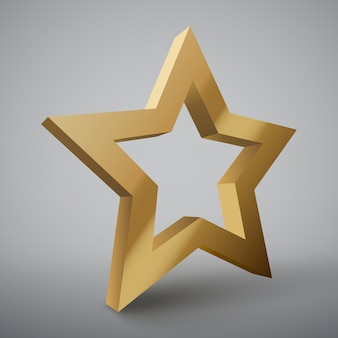 3d золотая звезда изолированы.