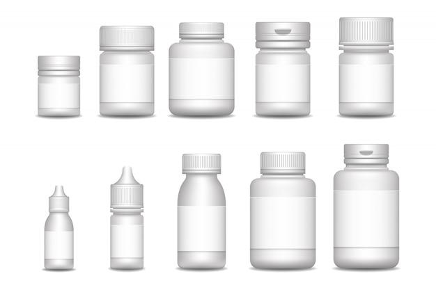 Пустые контейнеры для таблеток. медицинские спреи. 3d пустой шаблон медицинской упаковки для таблеток и жидких лекарств