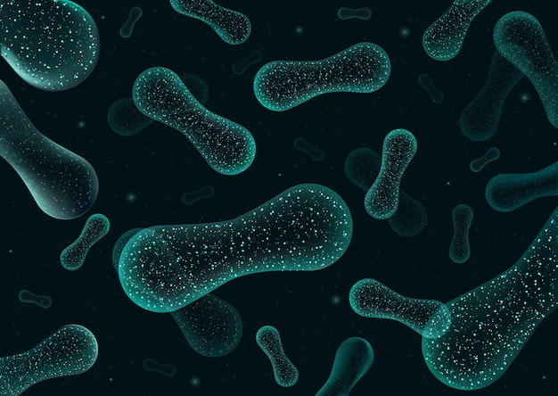 バクテリア3d低ポリレンダリングプロバイオティクス。人間の腸のヨーグルト生産の健康な正常な消化フローラ。顕微鏡細菌のクローズアップ。