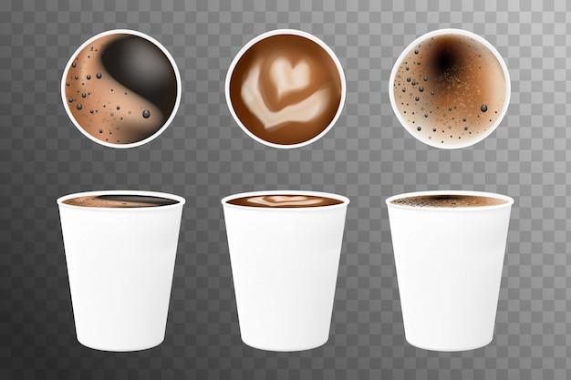 Реалистичные кофе 3d в белых чашках сверху и сбоку. кофе эспрессо в белых бумажных стаканчиках