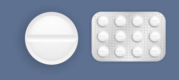 Набор таблеток в упаковке. таблетки и капсулы, белые трехмерные лекарства и витамины. упаковка лекарств 3d: обезболивающие, антибиотики, витамины и таблетки аспирина.