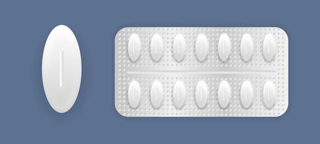 Упаковка лекарств 3d: обезболивающие, антибиотики, витамины и таблетки аспирина. набор таблеток в упаковке. таблетки и капсулы, белые трехмерные лекарства и витамины.